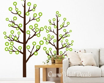 tree wall decal sticker art tree home art mural nursery wall decal boys and girls- couple tree with dots Z112