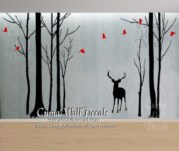Tree wall decals tree and birds wall sticke nursery wall for Deer mural decal
