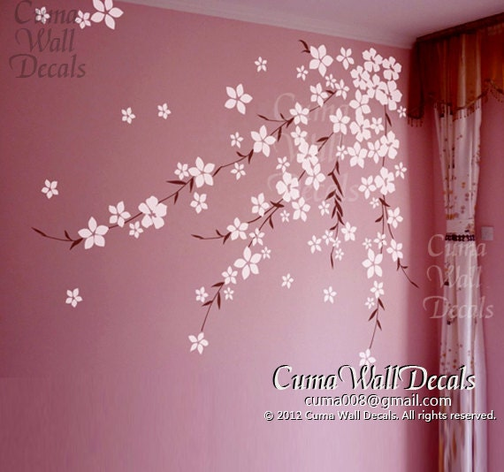 Cherry flower wall decals cherry blossom vinyl wall by cuma for Cherry blossom mural on walls