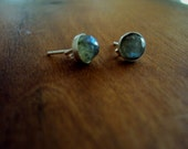 Labradorite Earrings, Brushed Sterling Silver Posts