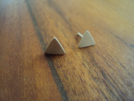 Triangle Brushed Silver Earrings, Sterling Silver
