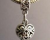 Fancy Filigree Heart Dangling Charm - Silver Plated Large Hole Bail Fits All European Charm Bracelets