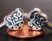 2PCs Sister Heart Shaped European Charm Beads For European Charm Bracelets - Christmas Gift Idea For Sisters