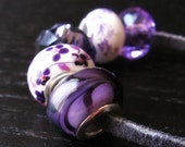 5PCs Purple Lampwork, Crystal, Porcelain Eurpean Bead Collection For All European Charm Bracelets