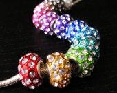 3 For 10 Dollars Crystal Studded European Beads Assorted Color Sampler For European Charm Bracelet