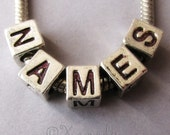 6PCs Name Charm Beads For European Bracelets Or Necklaces - Silver Alphabet Letter Cubes For European Charm Bracelets