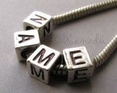 4PCs Name Charm Beads For European Bracelets And Necklace Chains - Large Hole Letter Cube Beads For All European Brand Jewelry Chains