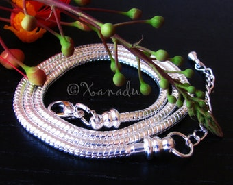 20.0in, 50cm, Silver Snake Necklace Chain With Screw Ends - European Style Necklace Chain For European Brand Large Hole Beads