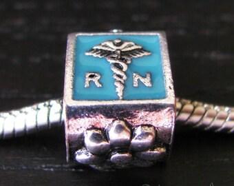 Registered Nurse European Bead - Large Hole Teal Enamel Bead Fits European Charm Bracelets