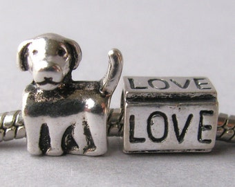 Dog Themed Gift - Dog And Love European Style Charm Set - Fits All European Charm Bracelets