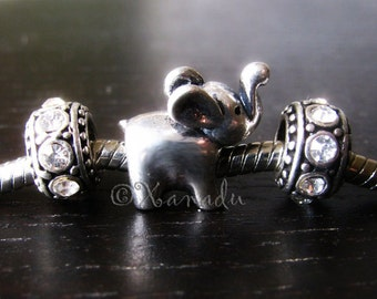 Baby Elephant Charm And Birthstone Spacer Beads For European Charm Bracelets - Lucky Elephant With Trunk Up
