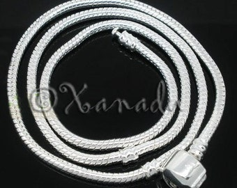 20in (50cm) Silver Snake Chain European Style Necklace with Snap Clasp - Accepts All Large Hole European Style Beads, Charms