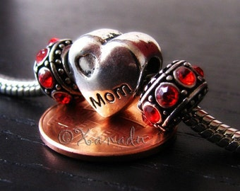 Mothers Day Gift Idea - MOM Heart Large Hole Bead And Birthstone Spacers - Heart Shaped Bead For All European Style Charm Bracelets