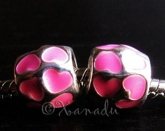 2PCs Pink Hearts Enamel Charms - Large Hole Pink Enamel Charms Fit All European Charm Bracelets