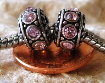 2PCs Pale Pink European Charm Beads - Rhinestone Large Hole Spacer Beads For European Charm Bracelets