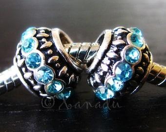 2PCs Aquamarine European Large Hole Beads For European Charm Bracelets - March Birthstones