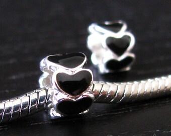 2PCs Black Endless Love Heart Beads - Large Hole Enamel Charms Fit All European Charm Bracelets