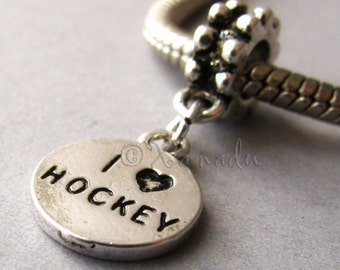 I Love Hockey European Style Dangling Charm - For All All European Charm Bracelets - Gift Idea For Hockey Moms