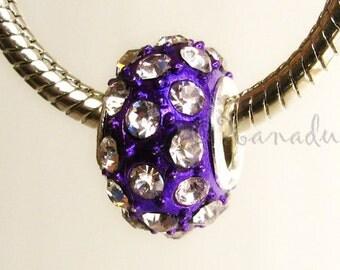 Purple Crystal Bead For Add A Bead Bracelets - Large Hole Bead Fits All European Charm Bracelets