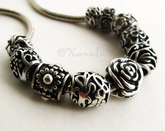 Flower Large Hole Beads 10PCs Mix  - Assorted Floral Silver Spacers For European Charm Bracelets