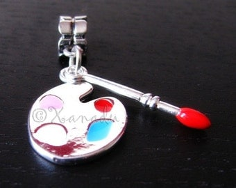 Art Palette And Paint Brush Charms Set For All European Charm Bracelet - Gift For Artists