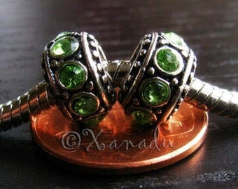 2PCs Peridot Green Birthstone Large Hole Beads - Gift For August Birthdays - For All European Charm Bracelets