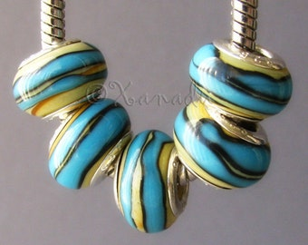 1PC Turquoise And Taupe Lampwork Glass Bead - Large Hole Murano Glass Beads All European Charm Bracelets And Necklaces
