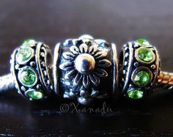 Beautiful Sunflower Charm And Birthstones European Bead - Large Hole Beads For European Charm Bracelets
