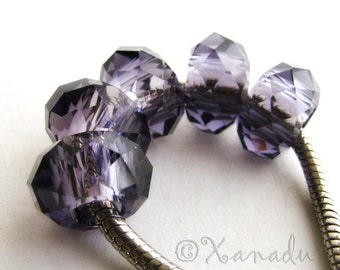 2PCs Purple Large Hole Swarvoski Style Crystal Beads - Fits European Charm Bracelets
