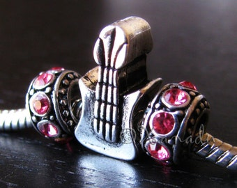 Rock N' Roll Guitar Charm And Crystal Birthstone Beads For All European Charm Bracelets