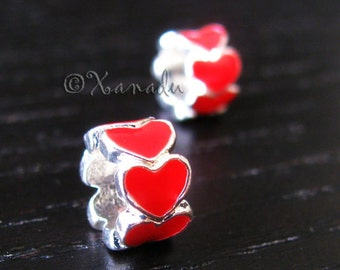 2PCs Red Endless Love Heart Beads - Large Hole Enamel Charms Fit All European Charm Bracelets