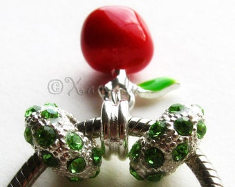 The Apple of My Eye Red Enamel Charm And Green Crystal Beads - For European Charm Bracelets - Gift For Teachers