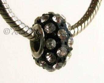 Black Crystal European Style Crystal Bead - Large Hole Bead Fits All European Charm Bracelets