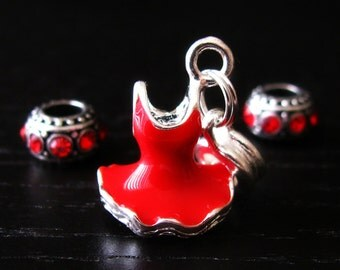 Lady In Red European Bead Trio - Women's Heart Disease Awareness Red Dress Charm Set For European Charm Bracelets