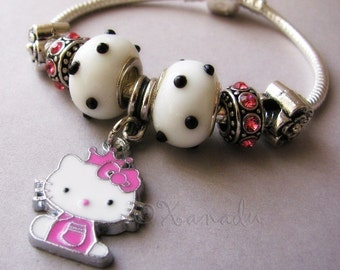 Pink Kitty Cat Princess European Charm Bracelet - Small Child Sizes Available - Gift Idea For Her