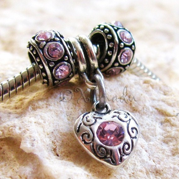 3PCs Pretty in Pink Crystal Heart Charm And Pink Spacers - Fits All European Charm Bracelets