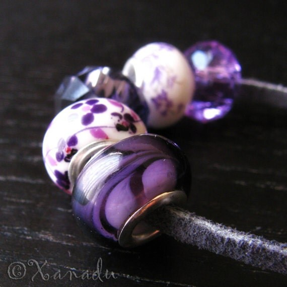 5PCs Purple Lampwork, Crystal, Porcelain Eurpean Bead Collection For All European Charm Bracelets