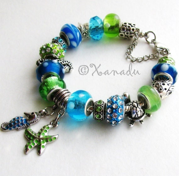 Seahorse And Starfish European Style Charm Bracelet - Large Hole Turquoise, Green Lampwork Glass Beads, Silver Charms On Adjustable Bracele