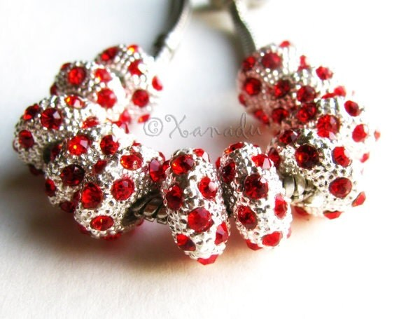 2PCs Ruby Red, Garnet Red Crystal Birthstone Beads - January, July Birthstone - Fits European Charm Bracelets