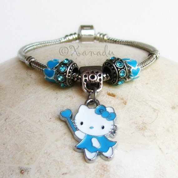 Turquoise Kitty Cat Fairy European Charm Bracelet - Small Kid Sizes Available - Gift Idea For Her