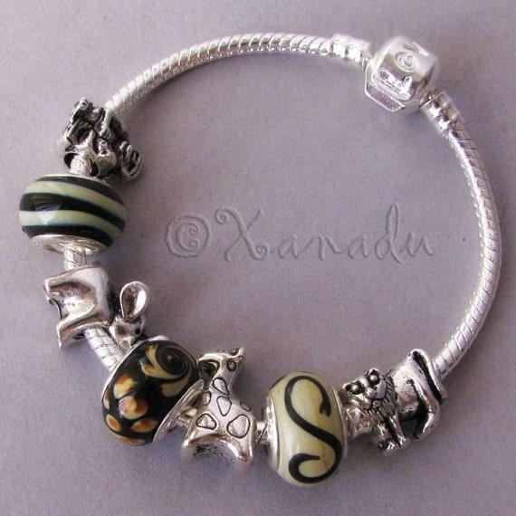 Going On Safari European Charm Braceletlack, Brown, Taupe Lampwork Beads With Elephant, Giraffe, Lion, Monkey Charms