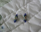 Cloisonne and swarovski crystal earrings, sterling silver ear wires