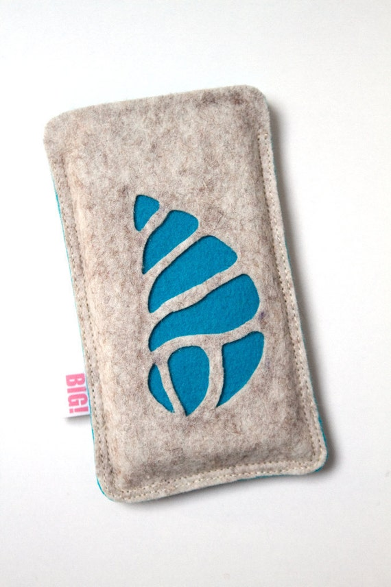 Felt cell phone cover made to fit your Iphone or any other smartphone - Aqua SHELL