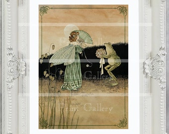 Fairy Print Girls Bedroom Baby Nursery Wall Frog Victorian Art Decor Vintage Picture Shabby Chic Picture Princess Antique Painting ff 104
