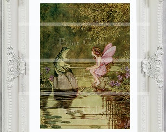 Fairy Print Pink Girl Bedroom Baby Victorian Nursery Decor Vintage Picture Frog Shabby Chic Princess Antique Painting Childrens Art ff 105