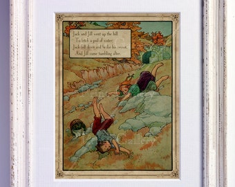 Nursery Rhyme Picture Jack and Jill Print Wall Art Old Book Page Boy Girl Bedroom Kids Babys Room Antique Decor Vintage nr 167