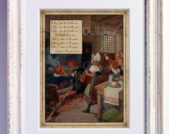 Nursery Rhyme Polly Put The Kettle On Print Wall Art Old Book Page Boy Girl Bedroom Kids Babys Room Antique Decor Vintage Picture nr 170