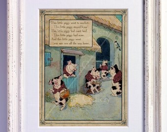Nursery Rhyme This Little Piggy Went to Market Print Wall Art Book Page Boy Girl Bedroom Kids Baby Room Antique Decor Vintage Picture nr 178