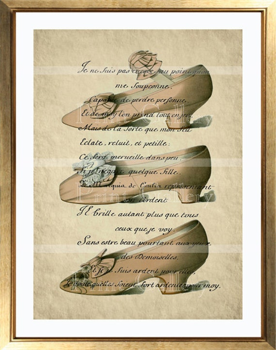 Book Page Prints Altered Art Antique French Fashion Shoes Home Deco Picture Old Shabby Chic Womens Vintage Pink High Heels Wall 089