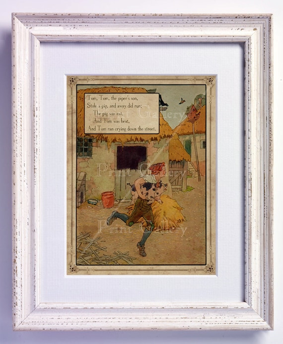 Nursery Rhyme Tom Tom The Pipers Son Print Wall Art Old Book Page Boy Girl Bedroom Kids Babys Room Antique Decor Vintage Picture nr 172
